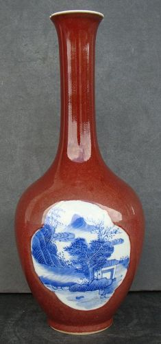 Chinese Red and Blue Bottle Vase