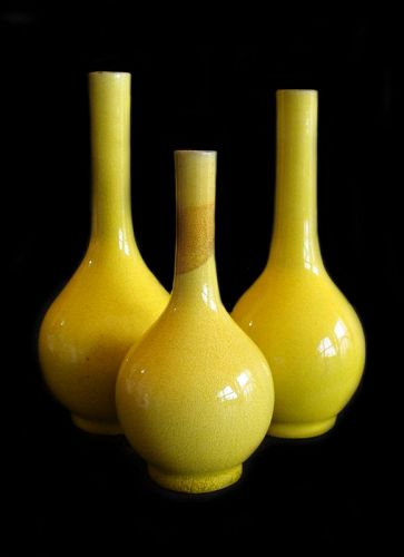 Chinese Yellow Glaze Stoneware Vases