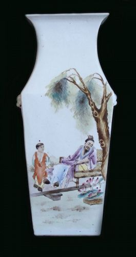 Chinese Square Section Baluster Vase