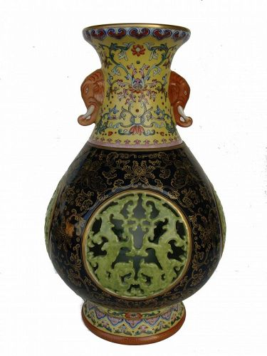 Chinese Famille-Rose Reticulated Revolving Vase