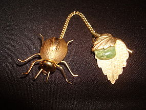 VINTAGE BEETLE & LEAF BROOCH
