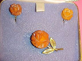 VINTAGE CARVED AMBER BROOCH & EARRING SET- AMBER GUILD