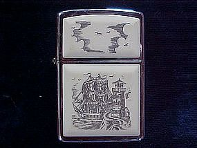 ZIPPO CIGARETTE LIGHTER SCRIMSHAW SHIP & LIGHTHOUSE