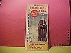 COCA-COLA PEN INK BLOTTER 1960 FEATURING GIANT BOTTLE