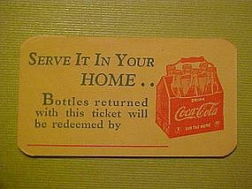COCA-COLA BOTTLE REDEMPTION CARD 1940's