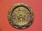 PERUVIAN INDIAN STERLING SILVER PIN W/ 18K GOLD LLAMA