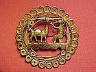 PERUVIAN INDIAN MADE STERLING FILIGREE PIN INDIAN/LLAMA