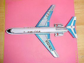 TIN FRICTION 1960's UNITED AIRLINES BOEING 727 AIRPLANE