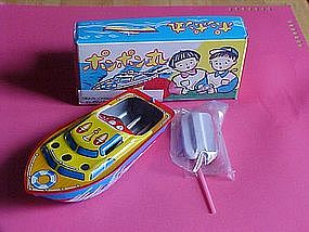 1960's LITHO TIN TOY POP POP BOAT MADE IN JAPAN