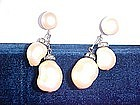 PAIR OF 1950'S FAUX MOBE PEARL CLIP EARRINGS MARVELLA