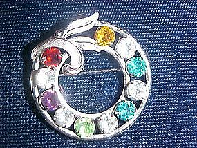 VAN DELL SIGNED STERLING SILVER RHINESTONE PIN
