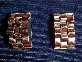 RENOIR COPPER BASKET WEAVE CLIP EARRINGS