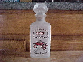 1950'S SATIN GLASS SCOTCH WHISKEY DECANTER OLDSMOBILE