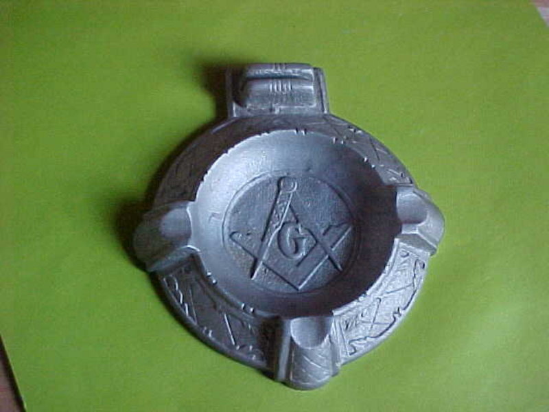 MASON MASONIC CAST ALUMINUM ASHTRAY 1920'S-30'S