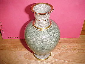 ROYAL COPENHAGEN VASE W/ GREEN & GRAY CRACKLE GLAZE