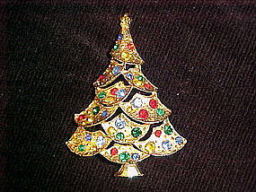 MULTI COLORED RHINESTONE CHRISTMAS TREE PIN BY J.J