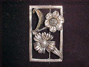 VINTAGE STERLING RECTANGLE FRAMED FLOWER PIN