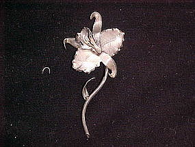 SILVER ORCHID PIN VINTAGE 1930's