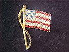 RAFAELIAN AMERICAN FLAG RHINESTONE PIN 1960's