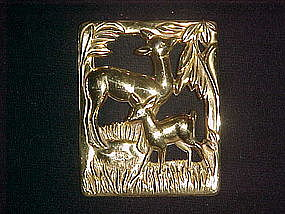 CORO STERLING CRAFT DOE & FAWN DECO PIN/BROOCH