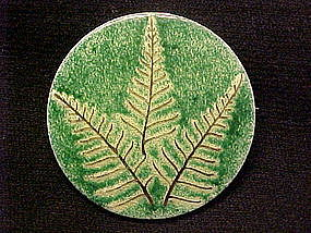 ENAMEL OVER STERLING FERN PIN 1960's