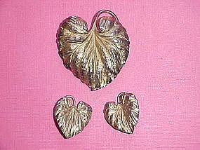 NAPIER STERLING LEAF PIN & EARRING SET