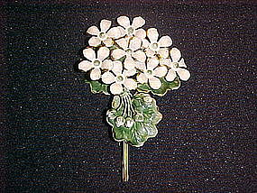 VINTAGE SIGNED SANDOR ENAMEL FLOWER CLUSTER PIN