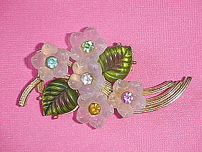 VINTAGE PIN W/ MOLDED GLASS FLOWERS W/ RHINESTONES