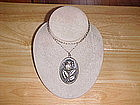 INTERNATIONAL SILVER CO. STERLING ROSE PENDANT OVAL