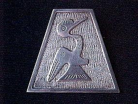 SILVER PRE COLUMBIAN DESIGN 2 HEADED BIRD MYSTICAL PIN