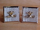 MENS GOLF/GOLFER CUFFLINKS GOLD & SILVER TONE SWANK