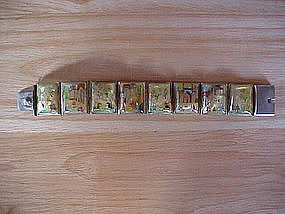SILVER PERSIAN BRACELET W/ MINIATURE PAINTINGS