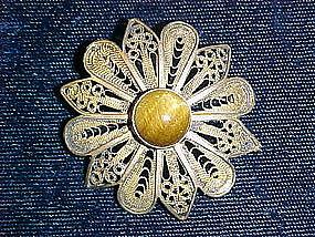 STERLING SILVER FILIGREE FLOWER BROOCH 1950'S