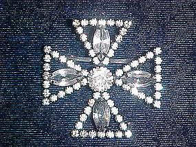 MALTESE CROSS RHINESTONE BROOCH 1950'S