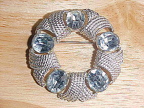 COROCRAFT RHINESTONE WREATH BROOCH 1950's