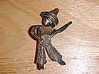 EUROPEAN SILVER FILIGREE PIN MAN W/ BANJO 1930's