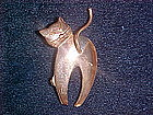 STYLIZED COPPER CAT PIN 1950's