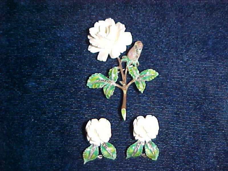 CARVED IVORY ROSE BROOCH & EARRINGS SET STERLING SILVER