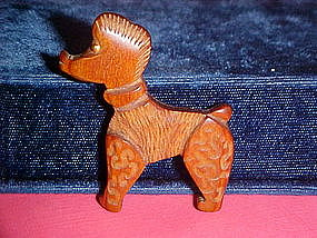 VINTAGE CARVED WOOD POODLE DOG BROOCH
