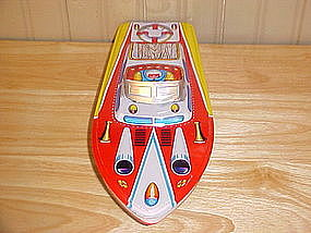 1950'S TIN LITHO TOY BOAT MADE IN JAPAN