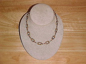 TWO TONED GOLD OVER STERLING SILVER KNOTTED NECKLACE