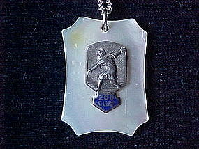 VINTAGE LADIES STERLING 200 CLUB BOWLING PENDANT