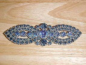 VINTAGE COBALT BLUE AURORA BOREALIS BOW TIE BROOCH