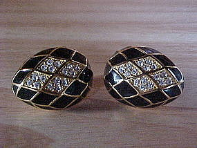 JOAN RIVER ENAMEL & RHINESTONE EGG SHAPED EARRINGS