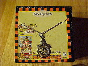 MARY ENGELBREIT STERLING SILVER HALLOWEEN PENDANT GHOST