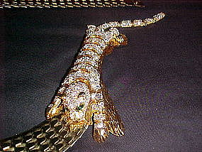 VINTAGE RHINESTONE TIGER BROOCH/BELT ACCESSORY ACCENT