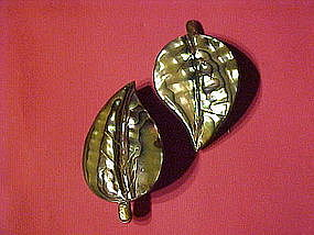 STERLING ABALONE TAXCO SJB LEAF PINS - PAIR