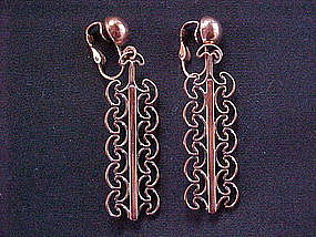 VINTAGE DANGLING CLIP ON COPPER EARRINGS 1950'S