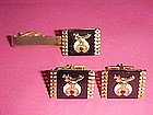 VINTAGE MASONIC SHRINERS TIE CLIP & CUFFLINKS