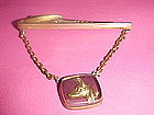 VINTAGE HICKOK TIE BAR W/ GERMAN SHEPERD IN LUCITE